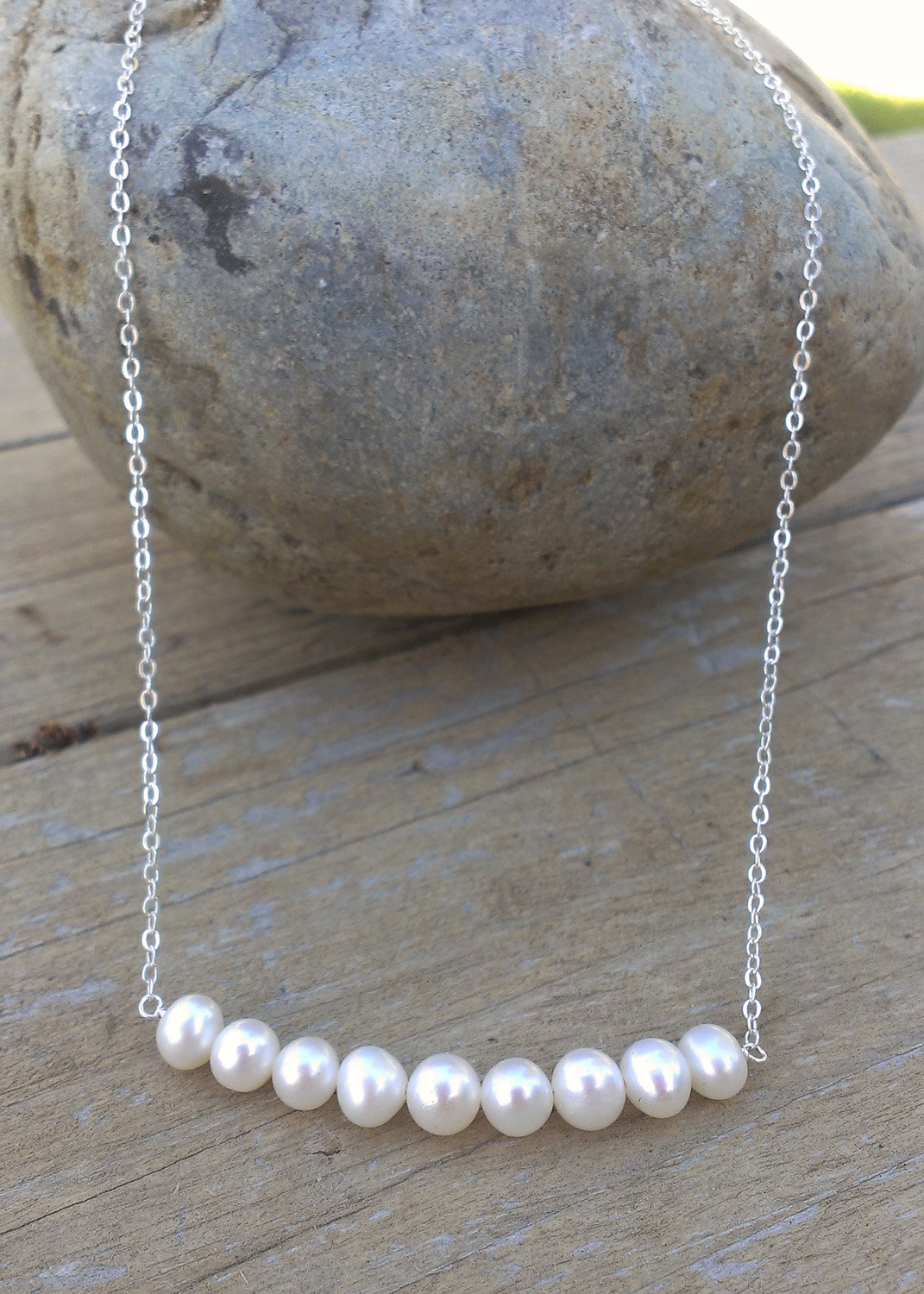 dainty pearl necklace 9 white freshwater pearls on