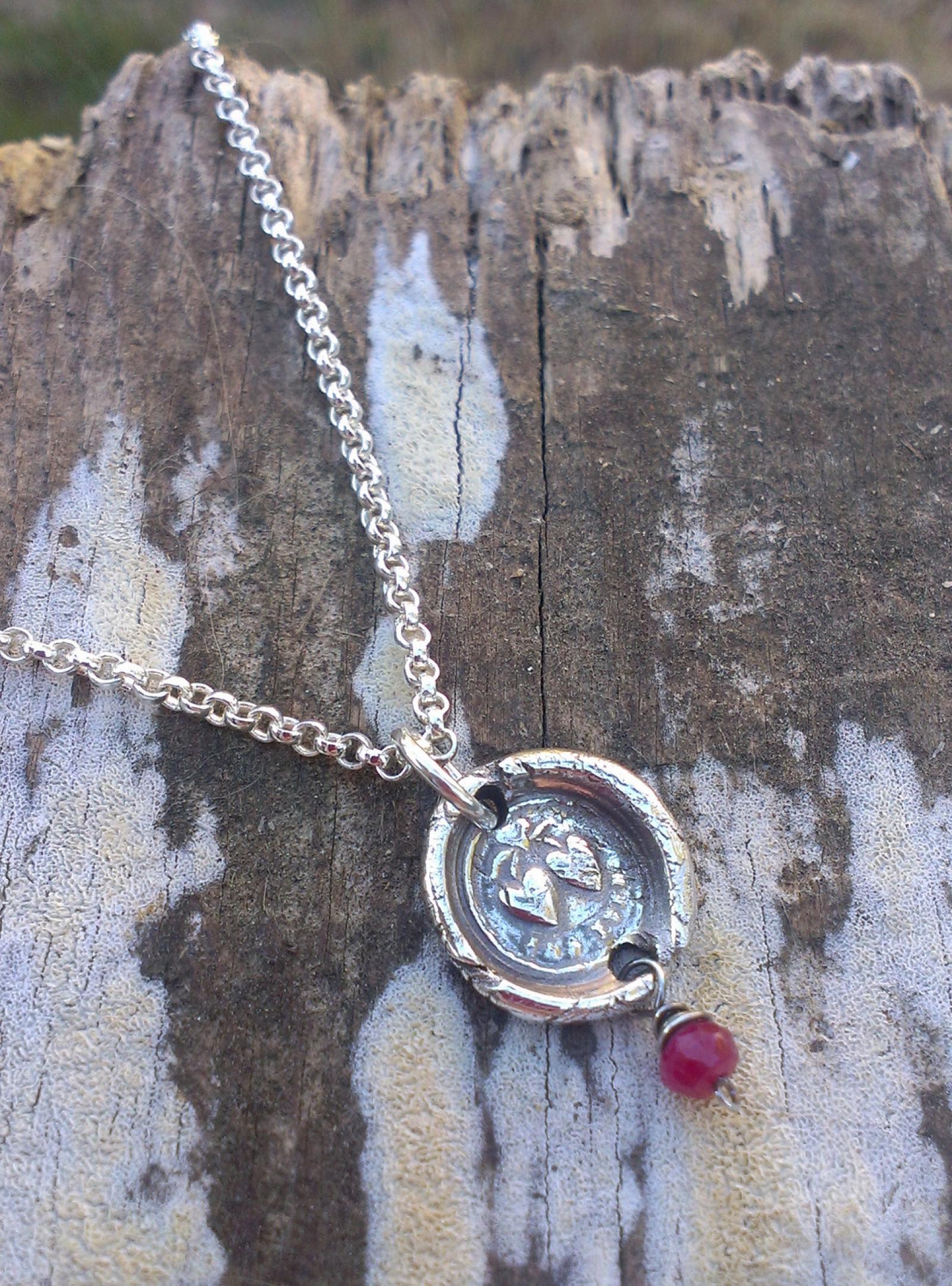 "Antique Insignia / Fine Silver Pendant - ""Forever"" & Ruby ..."