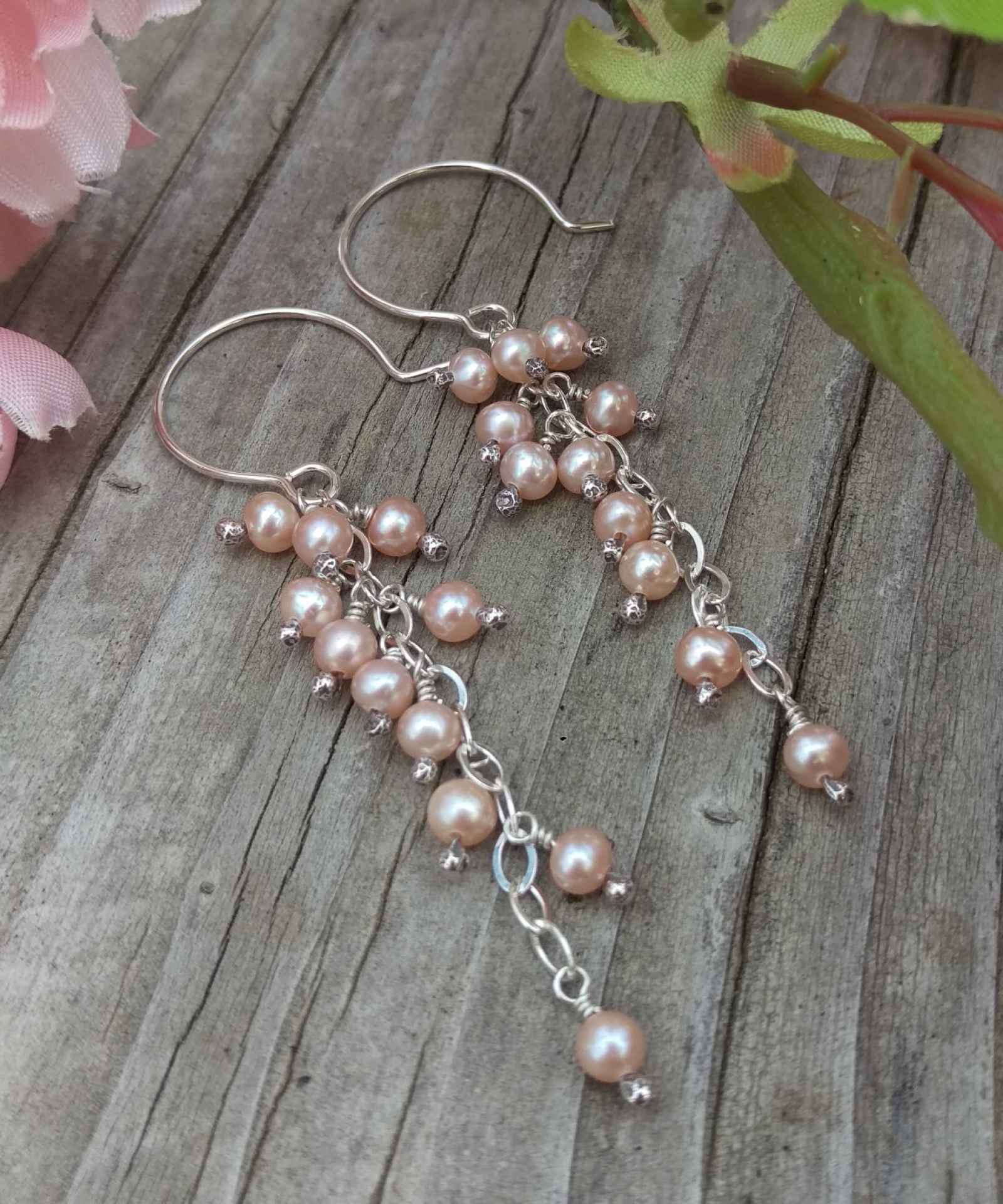 Cascade Pearl Earrings Pink Freshwater Charms On Sterling Silver