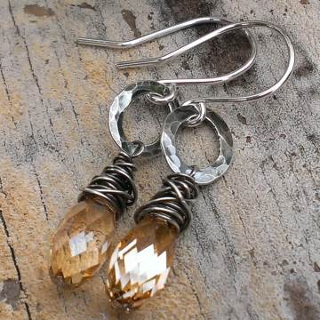 "Wonky Wrapped Briolette on Hammered Oval Hoop Earring - Gifted to the ""Once Upon A Time"" Stylist for Consideration"