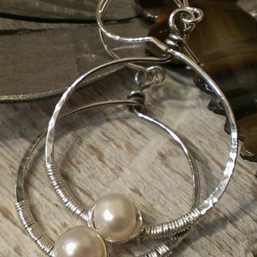 Circle of Life - Pearl & Sterling Wrapped Earrings