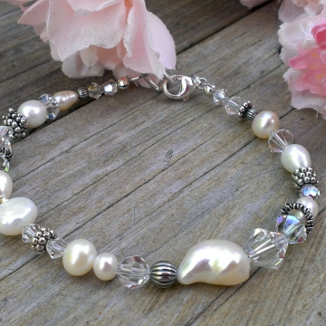 Shades of White - Single Strand Bracelet in Pearls, Crystals & Sterling