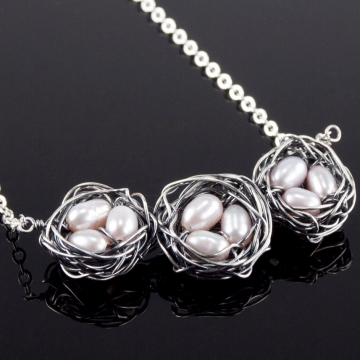 Nest Necklace - Triple Nest Trio in Pink