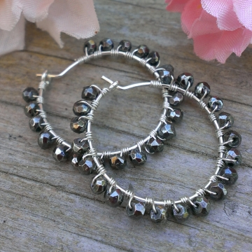 Pyrite Faceted Rondlles Wrapped in Sterling on Handforged Sterling Hoops
