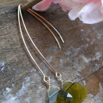 "Swarovski Briolette on Long, Handforged ""V"" Hook Earwires - 14K Gold Filled"