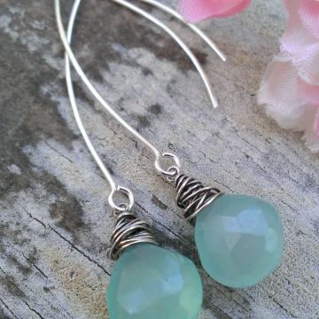 "Wonky Wrapped Earrings II - Mystic Green Chalcedony on Long, Handforged ""V"" Hook Earwires"
