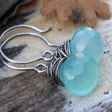 Wonky Wrapped Earrings - Mystic Green Chalcedony