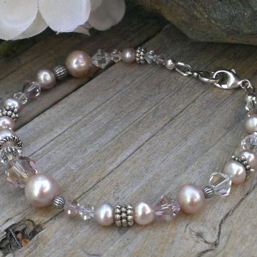 Shades of Pink - Single Strand Bracelet in Pearls, Crystals & Sterling