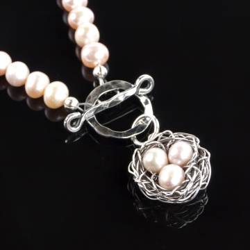 Pink Pearl Toggle Necklace with Nest Pendant