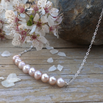 Dainty Pearl Necklace - 9 Freshwater Pearls on Sterling Chain