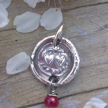 "Antique Insignia / Fine Silver Pendant - ""Forever"" & Ruby Charm (Two Hearts Intertwined above)"
