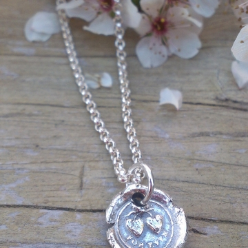 """Antique Insignia / Fine Silver Pendant - """"Forever"""" (Two Hearts Intertwined above)"""