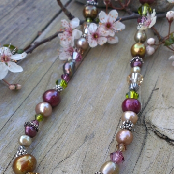 Autumn Shades - Single Strand Necklace in Pearls, Crystals & Sterling