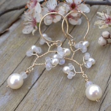 Vine Collection - Pearl & Moonstone Earrings in 14K Gold Fill
