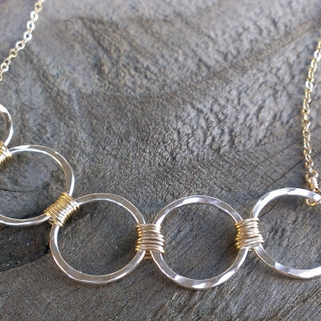 Loop-de-Loop Wrapped Five Circle Hammered Sterling Necklace