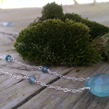 London Blue Topaz on Chain with Blue Chalcedony Pendant