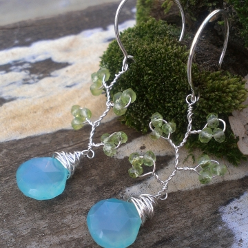 Vine Collection - Peridot & Blue-Green Chalcedony Earrings