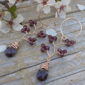 Vine Collection -Garnet & Rose Gold Filled Earrings