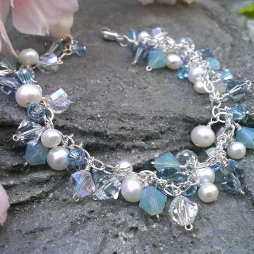 Blue Skies Ahead - Charm Bracelet / Sterling Silver, Freshwater Pearls & Swarovski Crystal