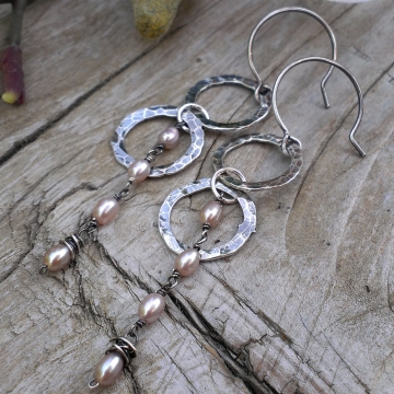 Double Hoop Charm Earrings - Hammered Sterling Circles & Linked Pink Pearls with Wonky Wrap