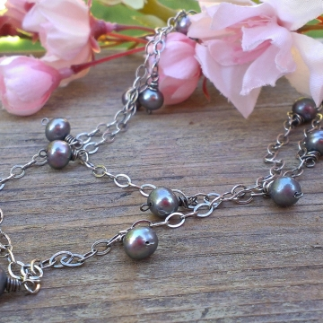 Pearl Charm Necklace - Pewter Pearls, 22 inch length, adjustable