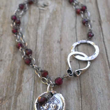 "Double Strand Gemstone Link with Insignia & Charms - Garnet, ""For Ever"""