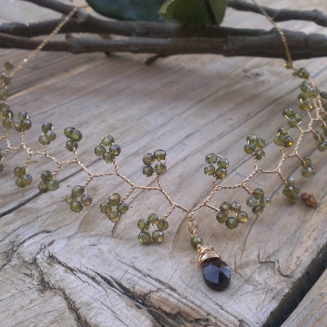 Vine Collection - Cubic Zirconia (Olive Colored) & Garnet Necklace in 14K Gold Fill