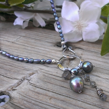 Emmy Pearl Necklace (Pewter Pearl) with Gemstone & Pearl Charms