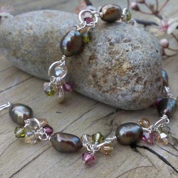 Autumn Shades Charm Bracelet - Bronze-Green Freshwater Pearls & Swarovski Charm Bracelet
