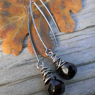 "Wonky Wrapped Earrings in Sterling Silver - Gorgeous Garnet Briolettes on Long, Handforged ""V"" Hook Earwires"