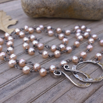 "Chain of Pearls Necklace - Peach Freshwater Pearls linked with Sterling Silver, Medium Strand (20"")"