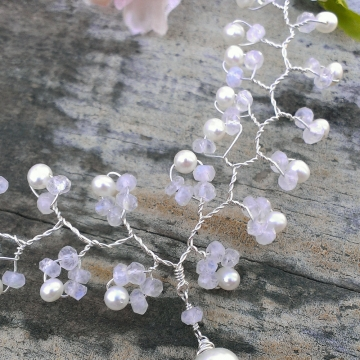 Vine Collection - Moonstone & Pearl Necklace on Sterling Silver Wire