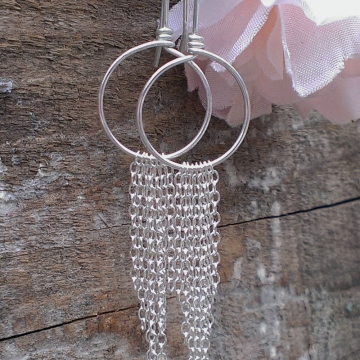 Hoop Earring with Sterling Silver Chain Fringe