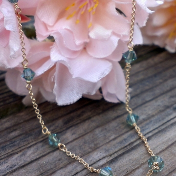 Swarovski Station Necklace - Erenite Xillion cut crystals linked to 14K gold filled chain with 14KGF wire