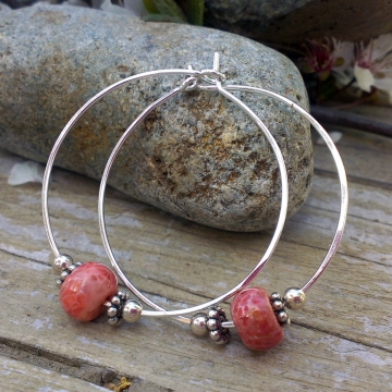 Handforged Sterling Hoop with Fossilized Coral & Sterling Bead Accents - Large
