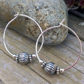 Handforged Sterling Hoop with Sterling Bead Accents - Medium