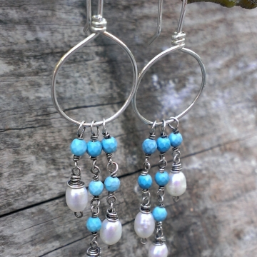Sleeping Beauty Turquoise & Pearl Cascade on Handforged Sterling Hoop Earrings