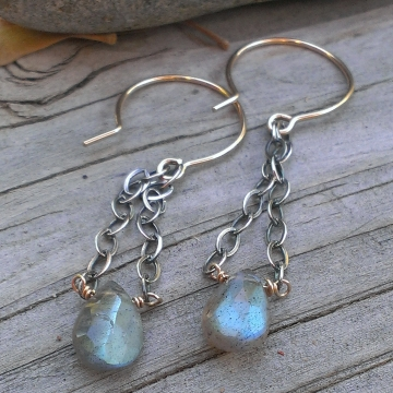 Labradorite Gemstone Earrings - Mixed Metal (sterling & 14KGF) with Labradorite Briolette