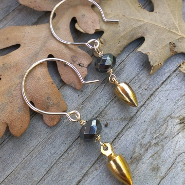 Mixed Metal Earrings - Hematite Rondelle on 14k Gold Filled Earwires with 18k Plated Brass Plumb Bob