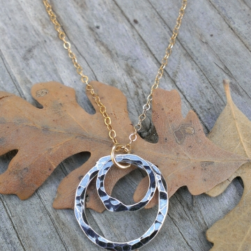 Oxidized Sterling Gold - Mixed Metal necklace; Oxidized Sterling Circle Duo on 14K Gold Filled Chain