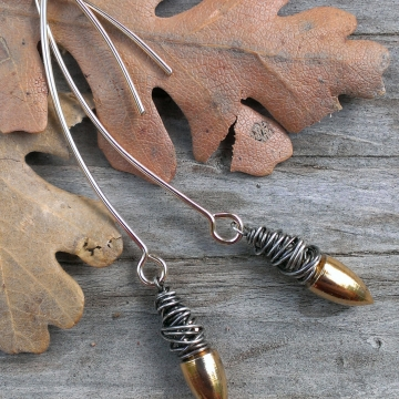 Sterling Gold Earrings - 18k Plated Brass Plumb Bob Drop with Oxidized Sterling Wonky Wrap