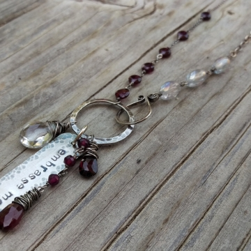 Garnet and Quartz Crystal Gemstones Linked with Sterling Wire - Handforged Clasp, Hand-stamped Medallion & Gemstone Charms