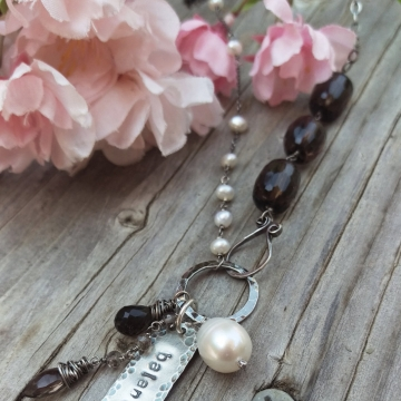 Smoky and Clear Quartz Crystal Gemstones Linked with Sterling Wire - Handforged Clasp, Hand-stamped Medallion & Gemstone Charms