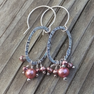 Textured Sterling Oval & Pearl and Pyrite Cluster Charm Earring