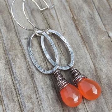 Textured Sterling Oval & Carnelian Briolette Charm Earring