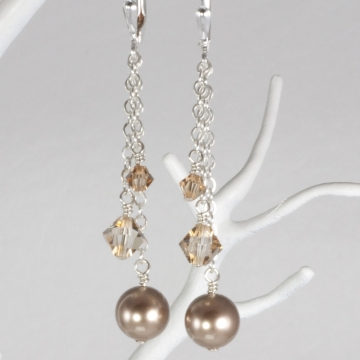 Triple Drop Charm Earring on Chain - Sterling Silver