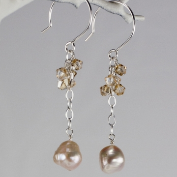 Charmed Life Pink Pearl Long Earrings