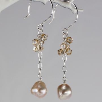 Charmed Life Pink Pearl Long Earrings