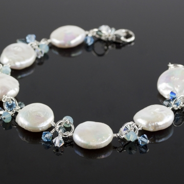 White Coin Pearl & Shades of Blue Swarovski Charm Bracelet