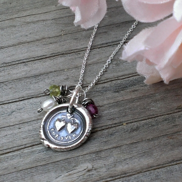 """Celebrity Gifting - Mother's Day, 2014 / """"For Ever"""" Antique Insignia (.999 Silver) on Dainty Chain with Birthstones"""
